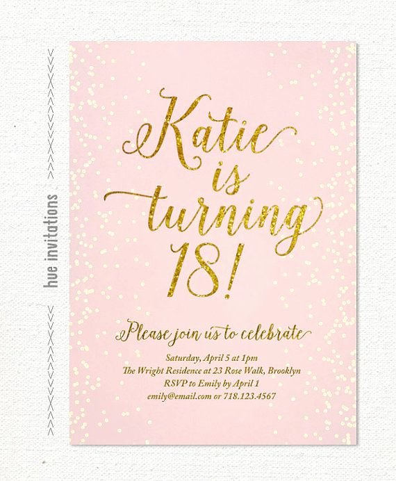 Pink Gold Glitter 18th Birthday Invitation for Girl