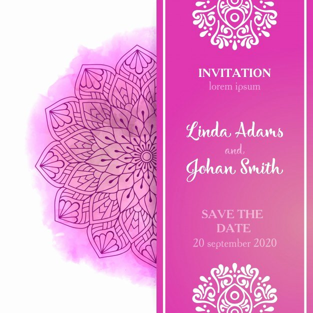 Pink Wedding Invitation Template Vector