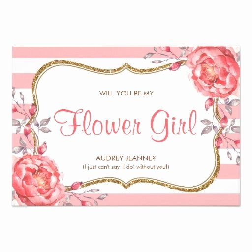 Pink White and Gold Striped Flower Girl Invitation