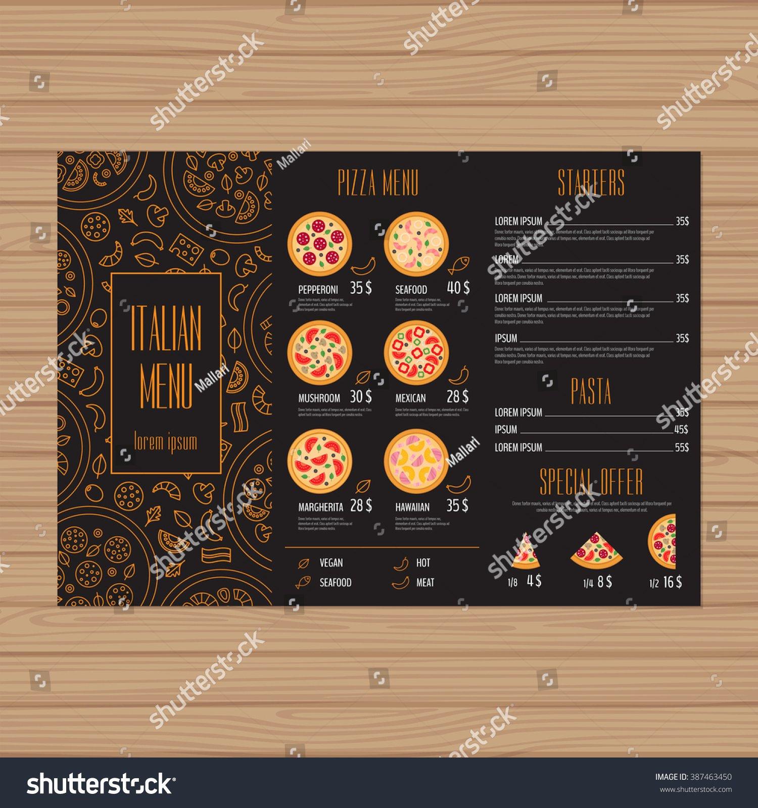 Pizza Menu Design Trifold Leaflet Layout Stock Vector