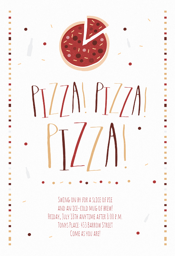 Pizza Pizza Pizza Free Party Invitation Template