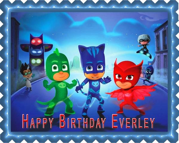 Pj Masks 1 Edible Cake topper & Cupcake toppers – Edible