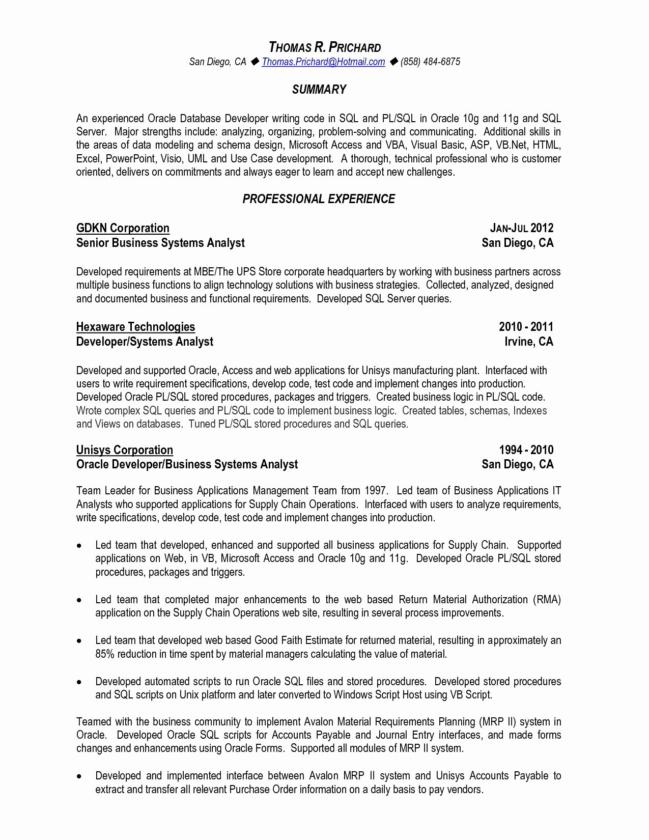 Pl Sql Developer Resume Awesome Front End Developer Resume