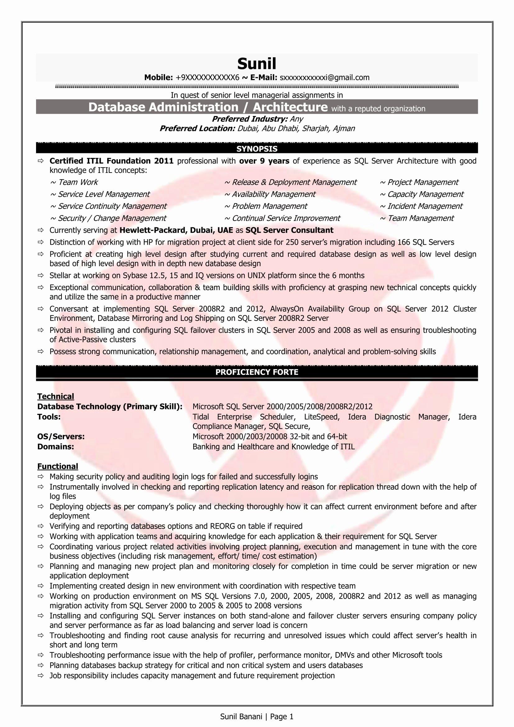 Pl Sql Developer Sample Resumes Download Resume format