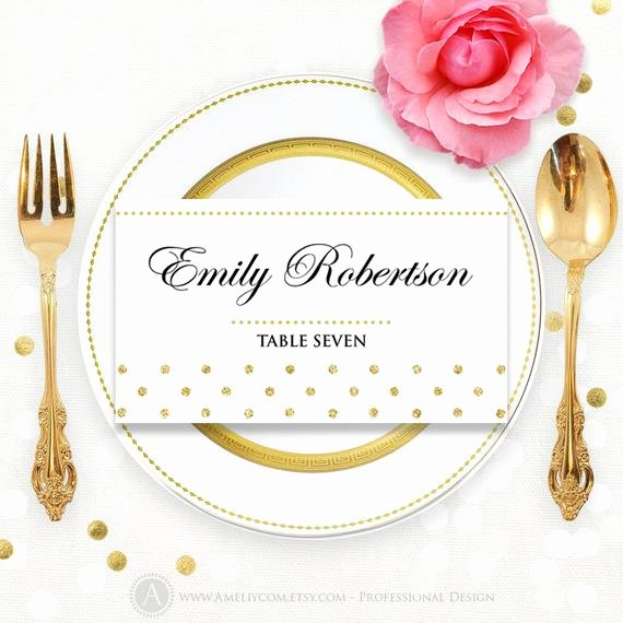Place Card Printable Gold Polka Dots Wedding Instant by