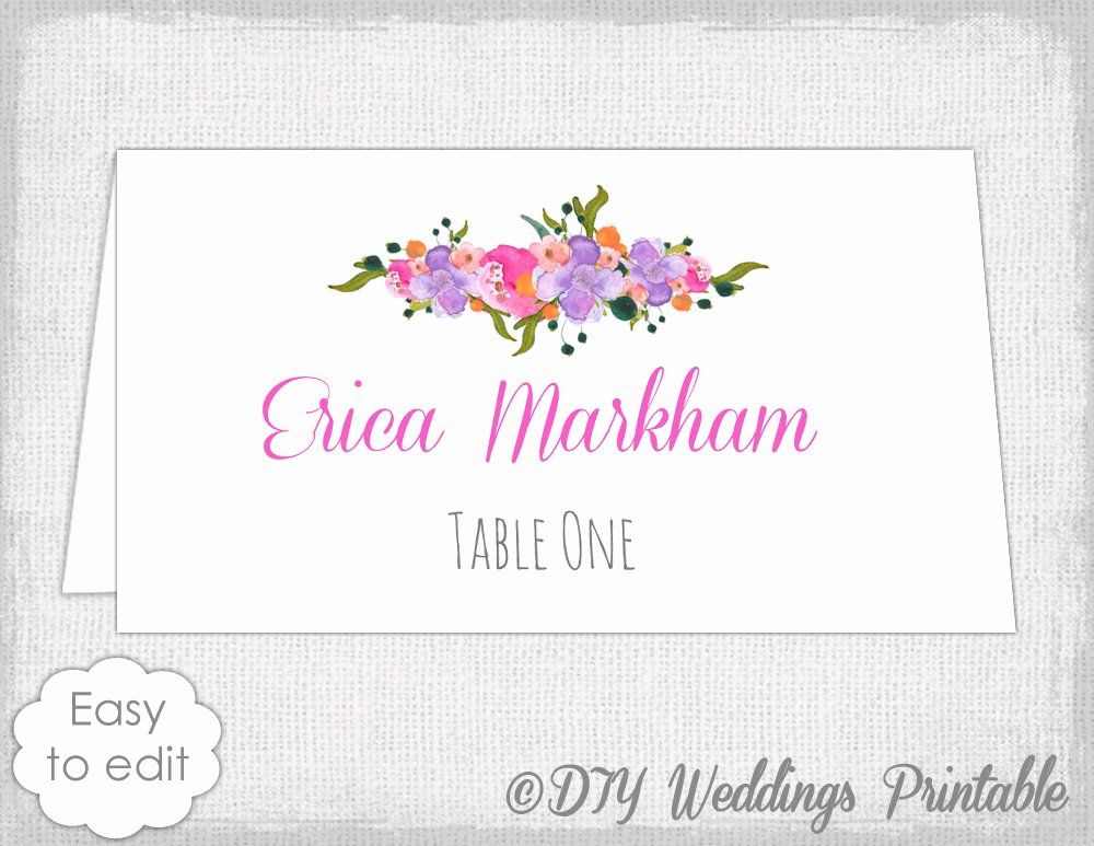 Place Card Template Diy Wedding Name Cards Pink orange