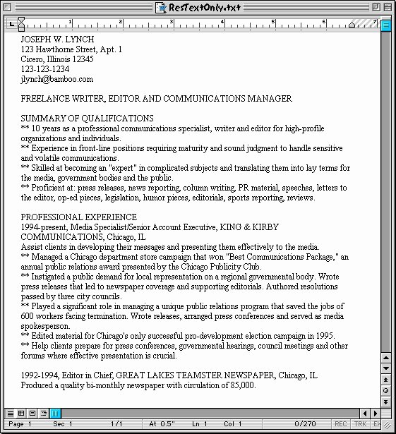 Plain Text Resume Example Best Resume Gallery