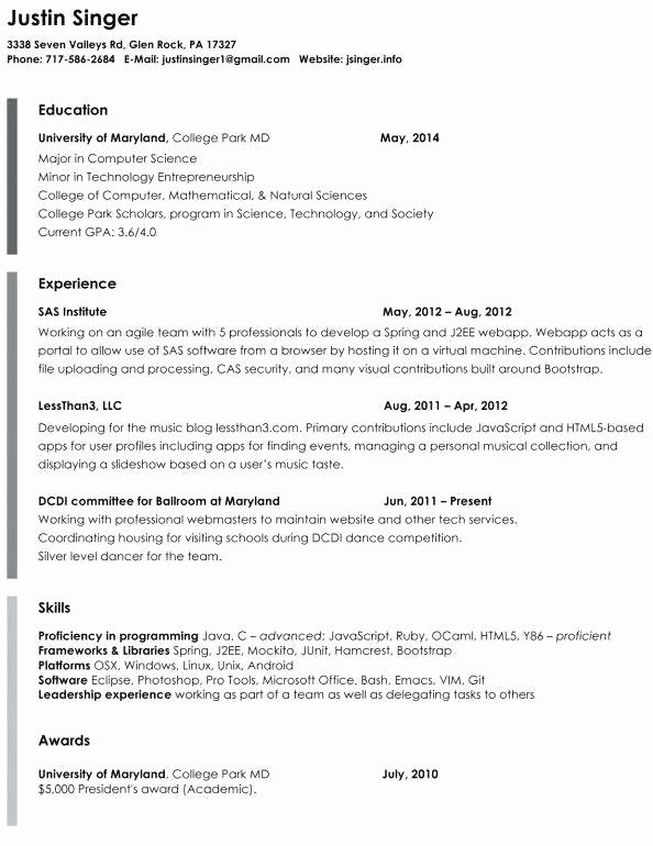 Plain Text Resume Template Sarahepps