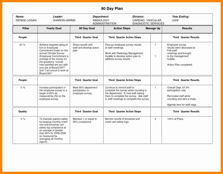 Plan 30 60 90 Day Plan Template