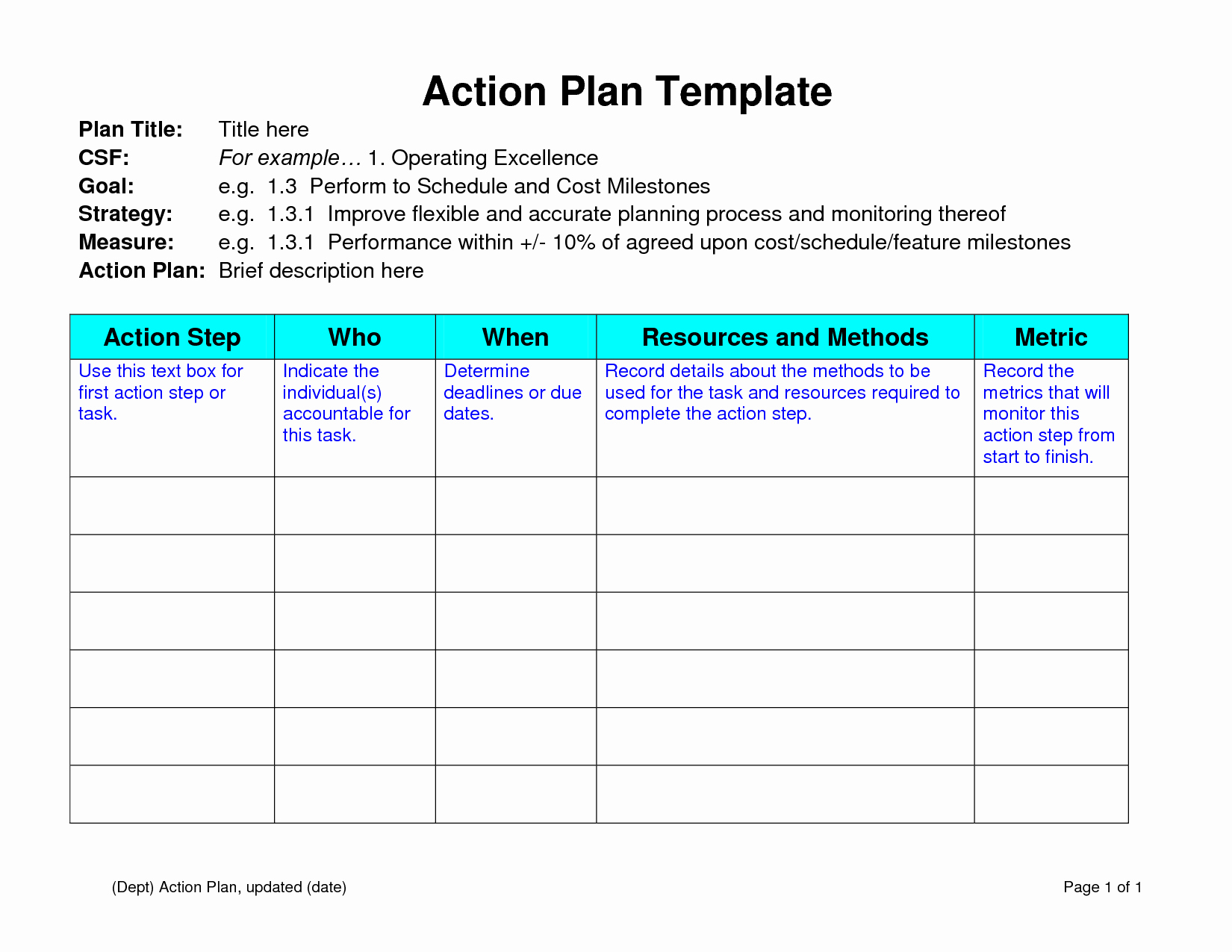 Plan Action Template