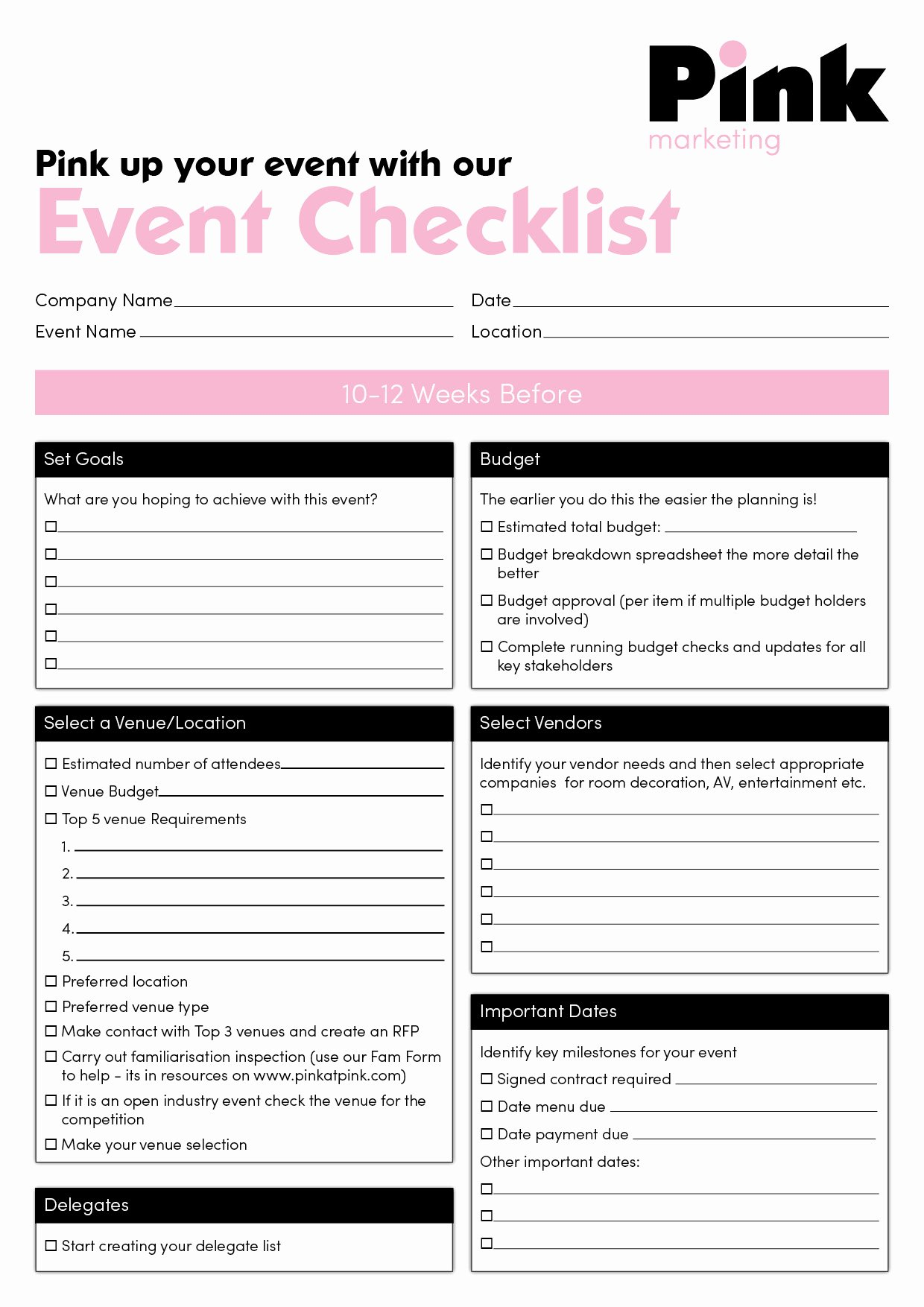 Plan event Planning Checklist event Planning Checklist