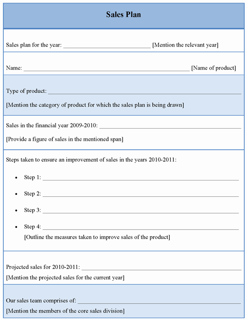 Plan Template for Sales Sample Of Sales Plan Template