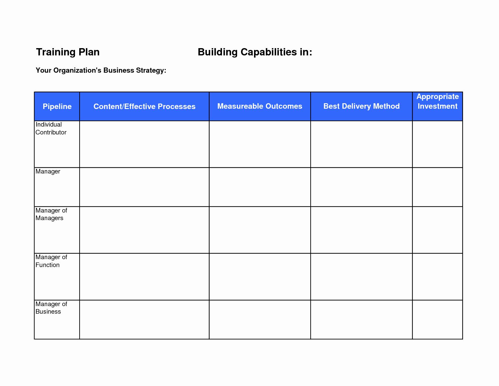 Plan Training Plan Template