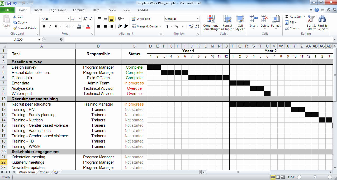 Planner Template Excel
