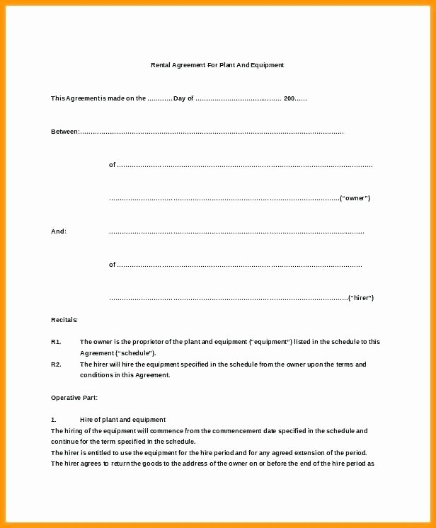 Plant Hire Agreement Template – Flybymedia
