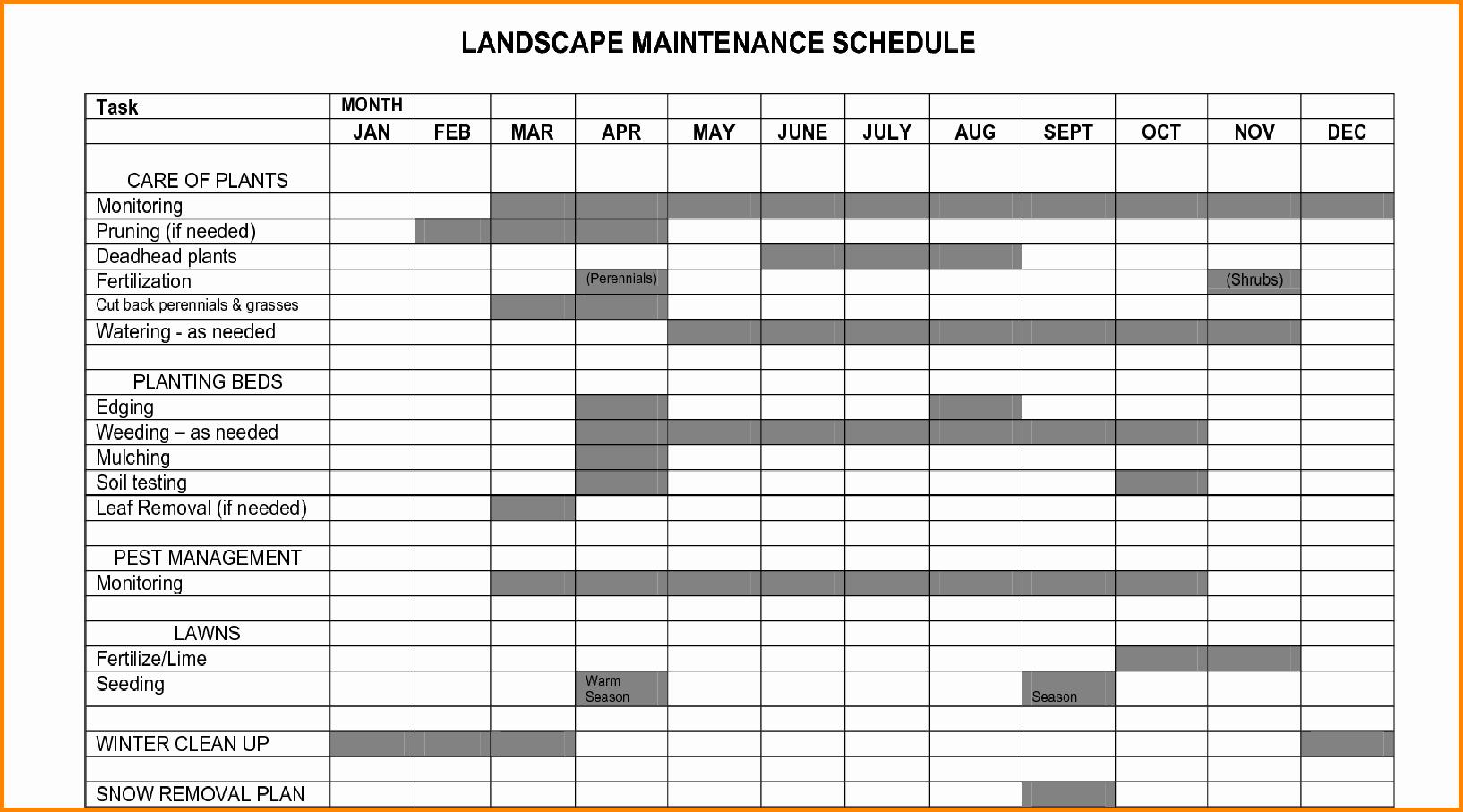 Plant Maintenance Schedule Template Excel