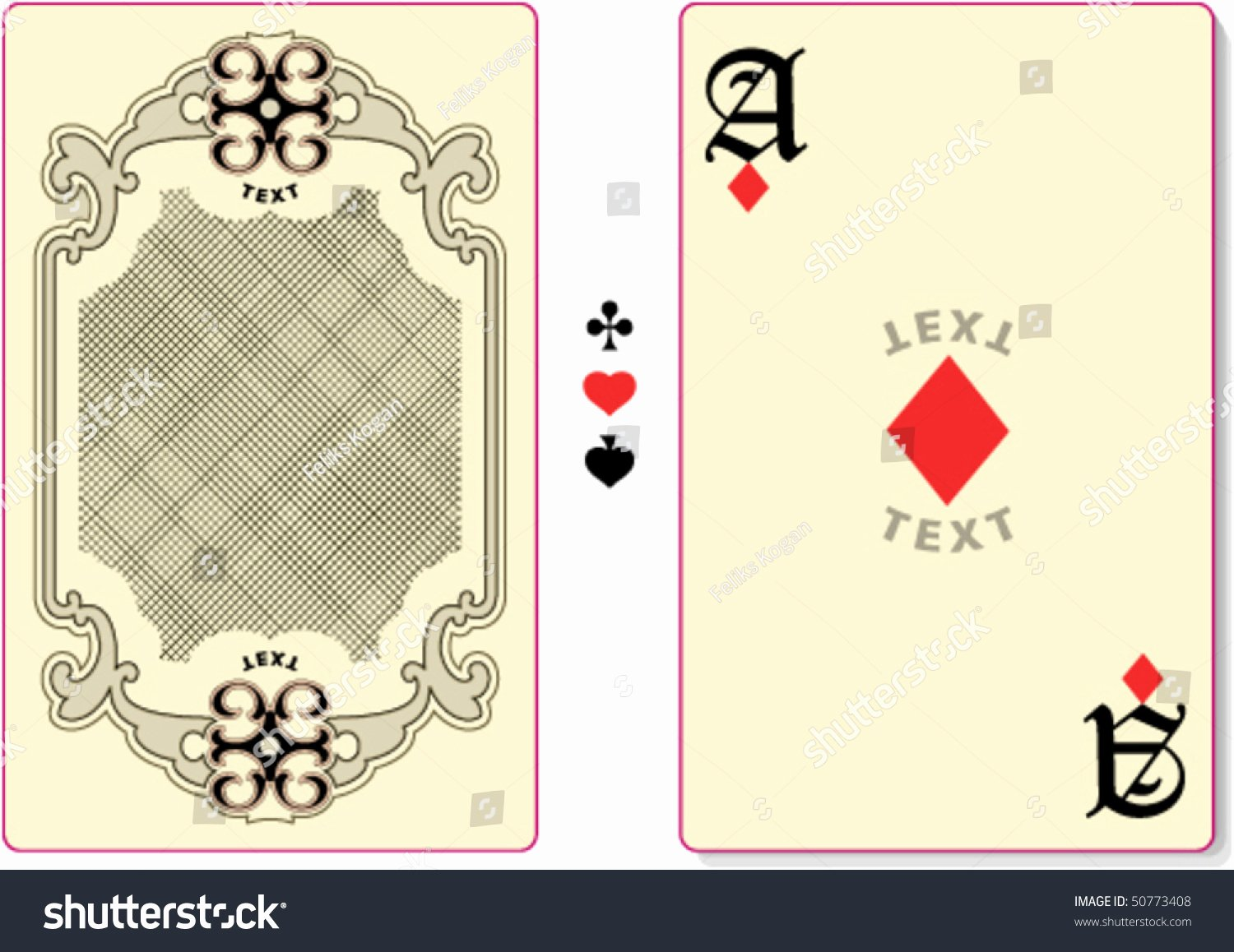 Playing Card Back Template Custom Text Stock Vector