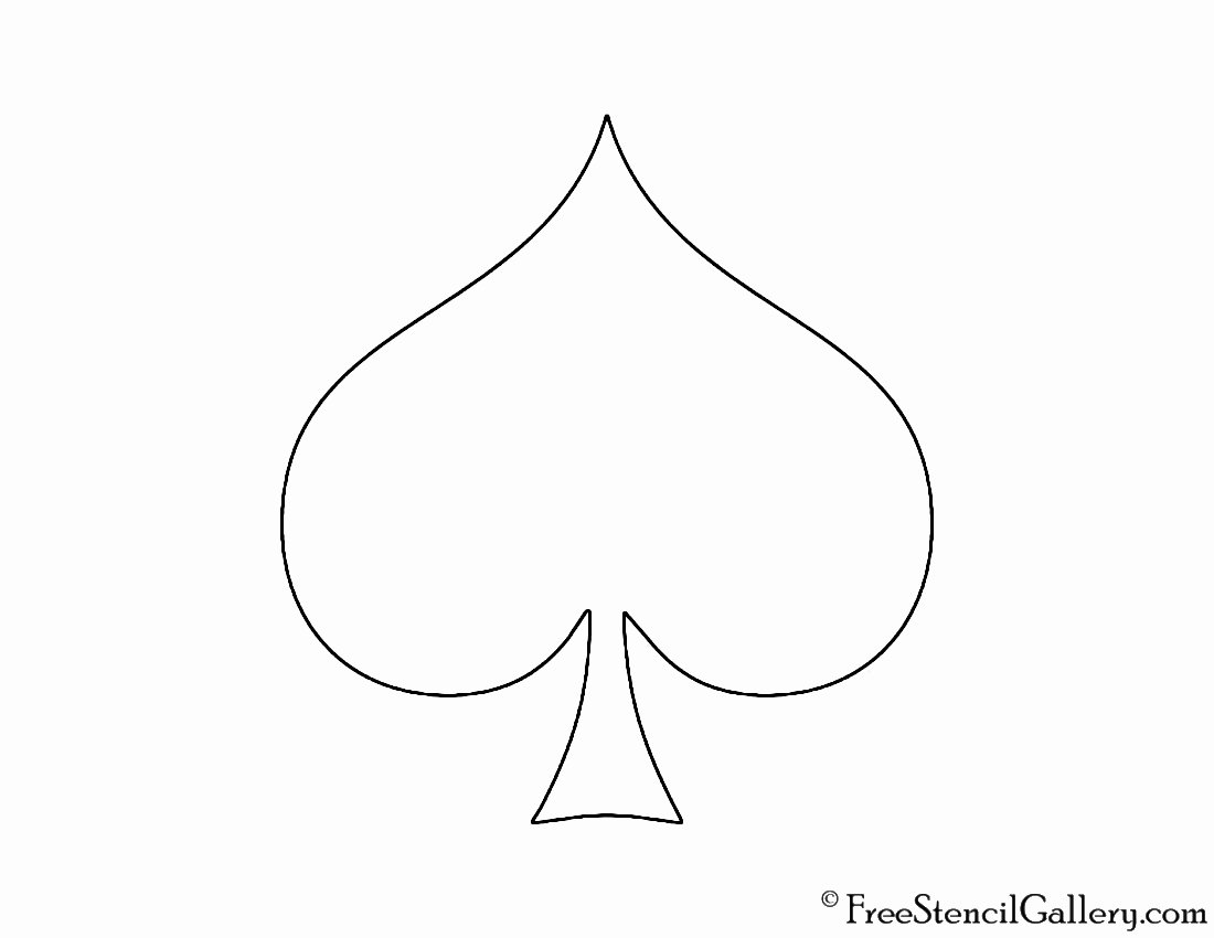 Playing Card Suit Spade Stencil