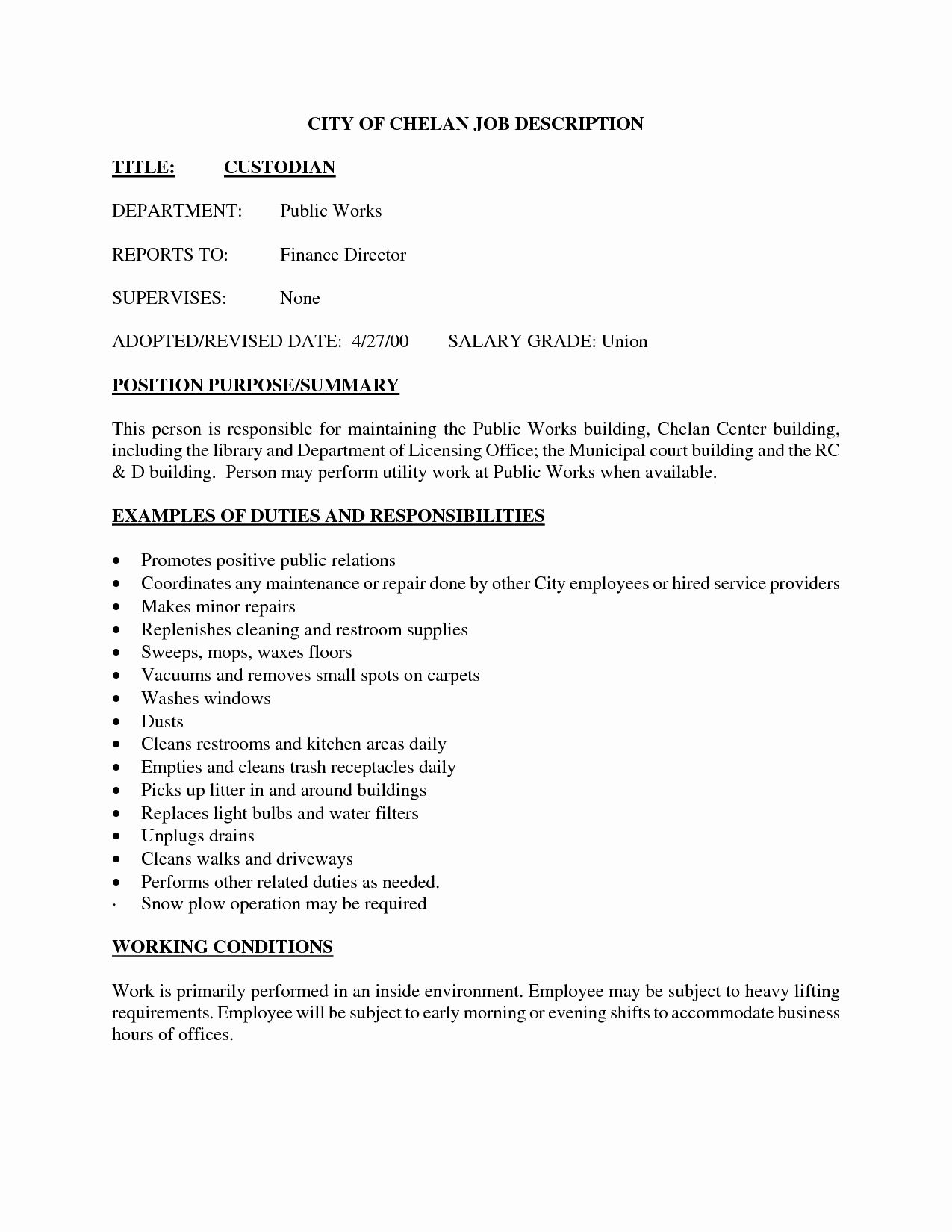 Pleasant Maintenance Supervisor Job Description Resume