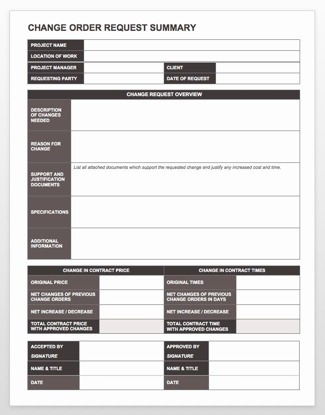 Plete Collection Of Free Change order forms