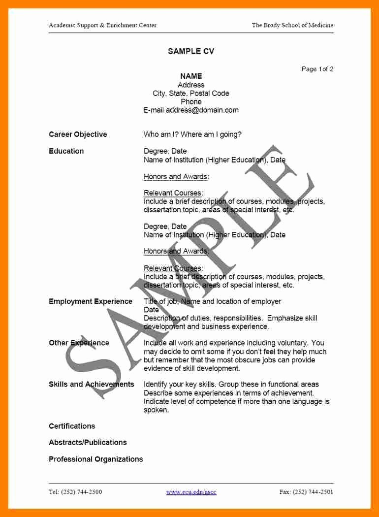 Plete Resume Example 5 How to Plete A Cv Example