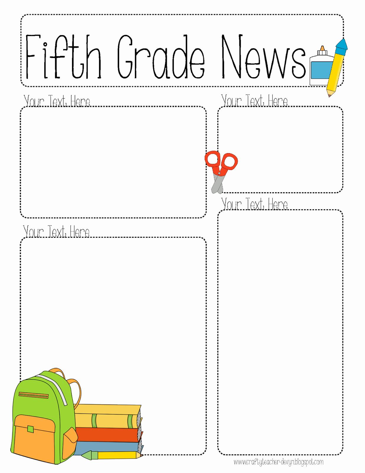 Pletely Editable Newsletter for All Grades