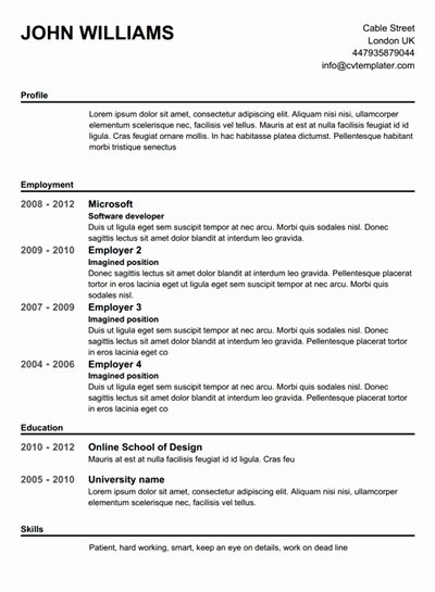 Pletely Free Resume Builder Template