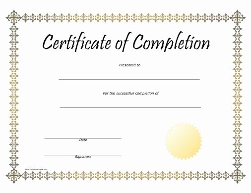 Pletion Award Certificate Free Printable