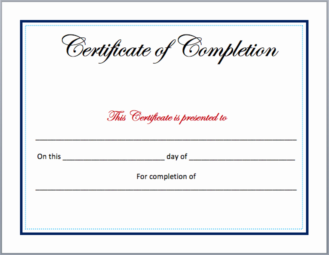 Pletion Certificate Template