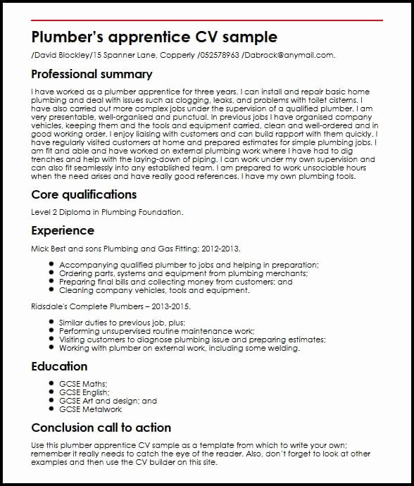 Plumber Apprentice Cv Sample