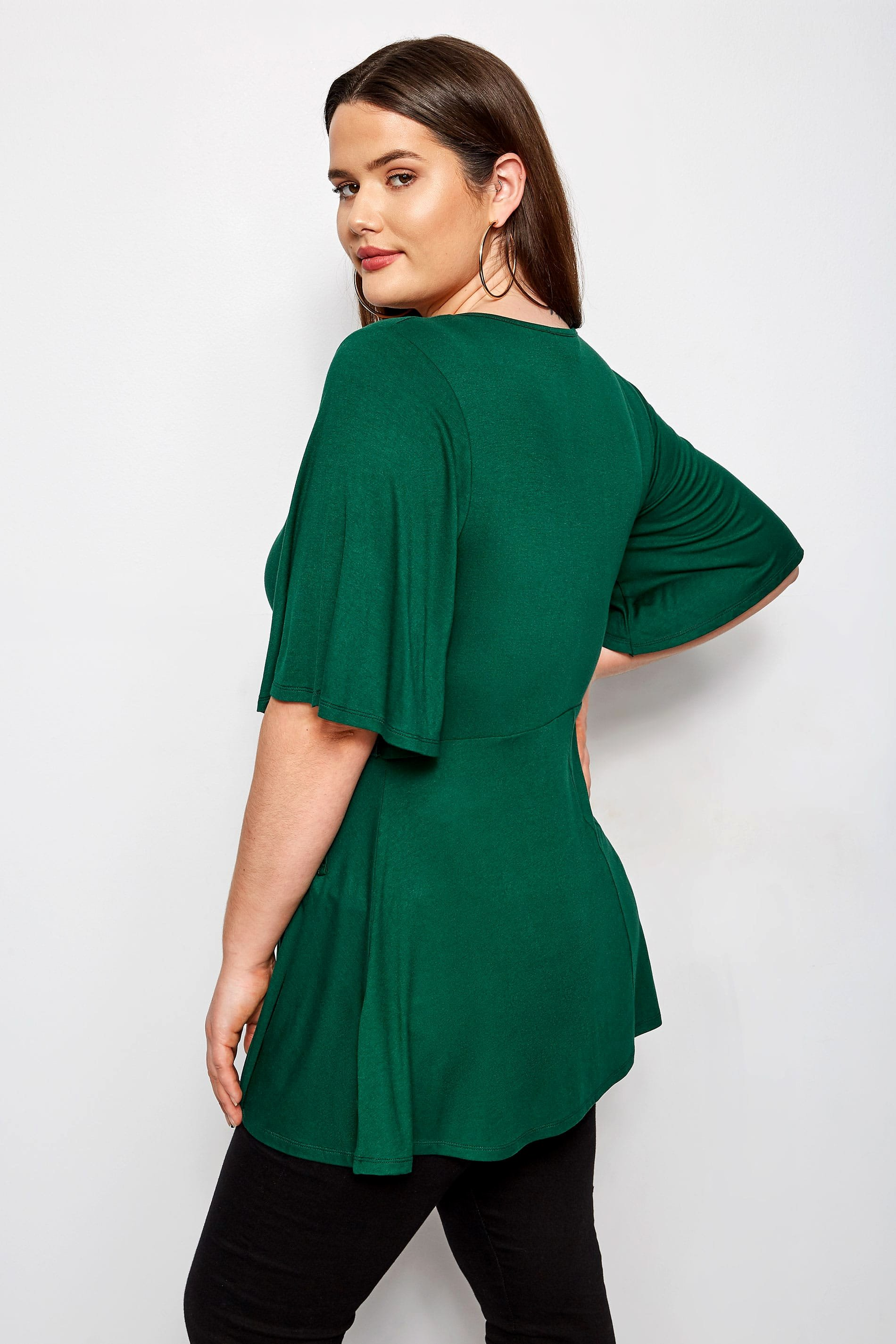 Plus Size Green Kimono Wrap top Sizes 16 to 36
