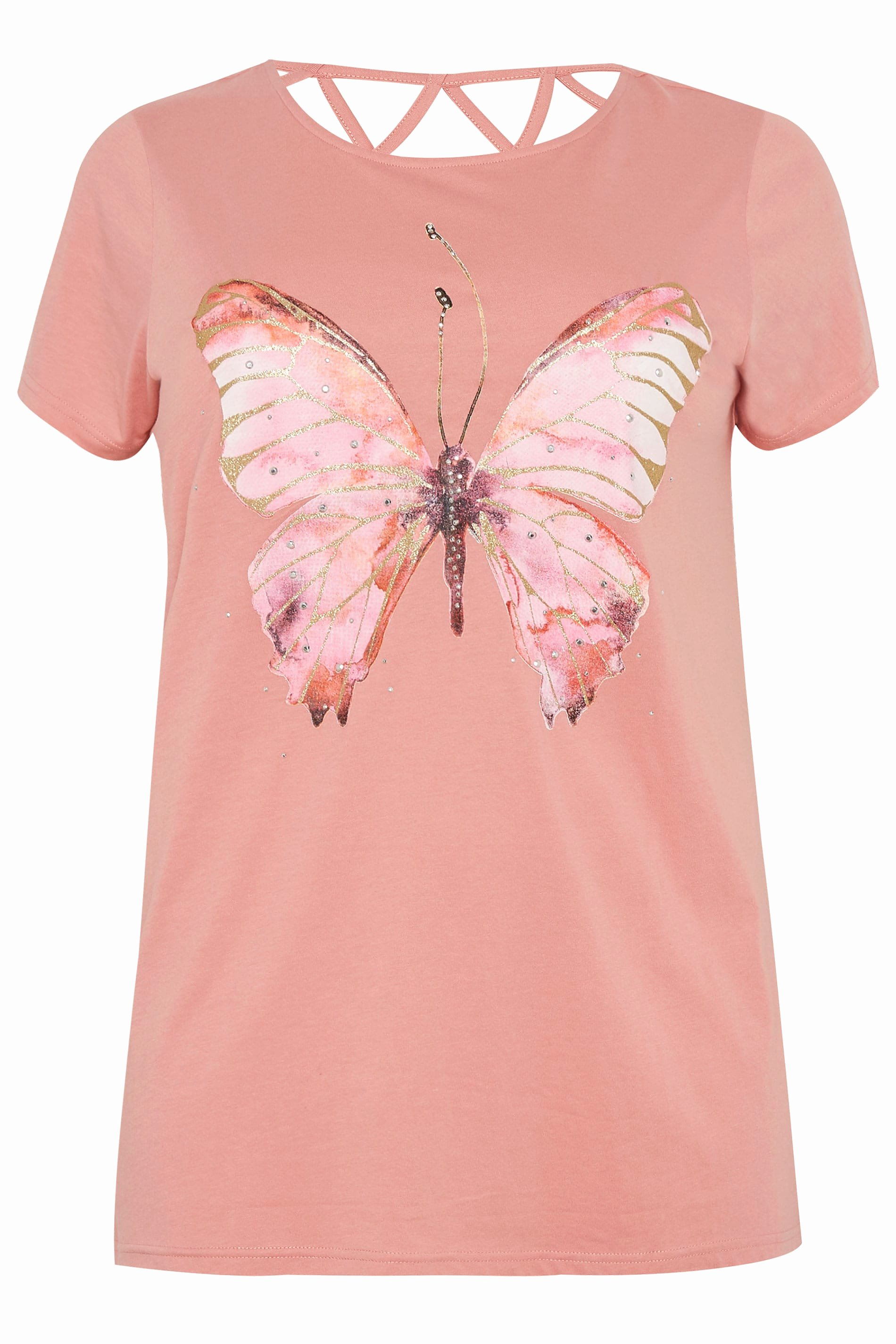 Plus Size Pink butterfly Sparkle T Shirt with Lattice Back