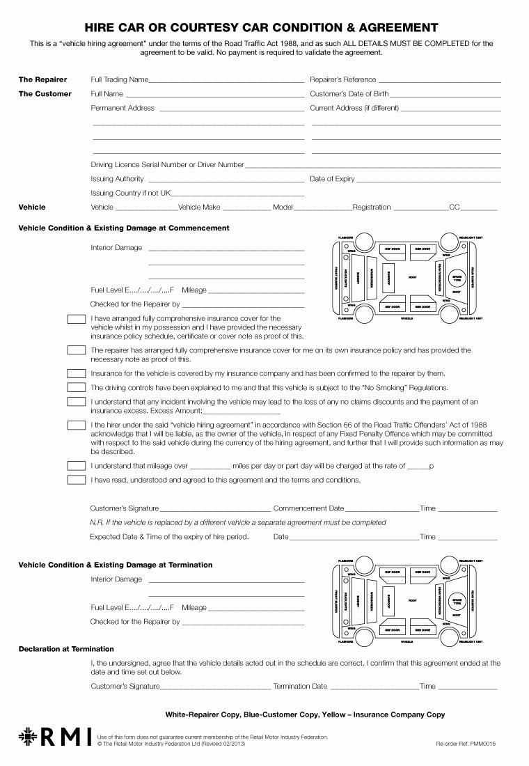 Pmm0016 Hire Car Condition & Agreement form Pad Rmi