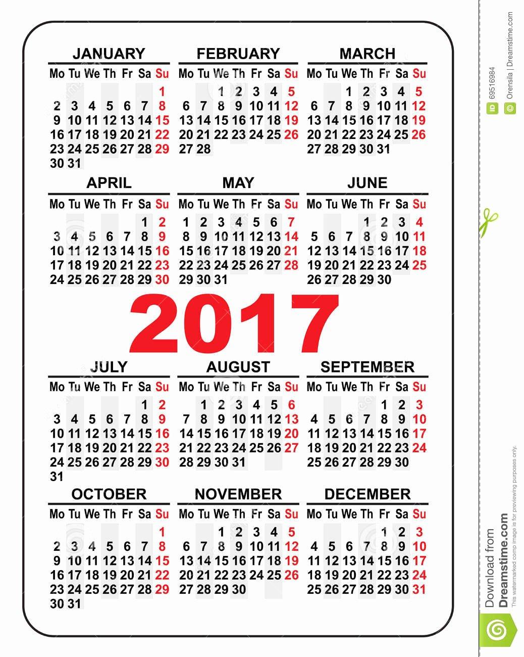Pocket Calendar 2017 First Day Monday Stock Vector