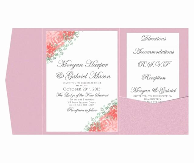 Pocket Wedding Invitation Template Set Instant Download