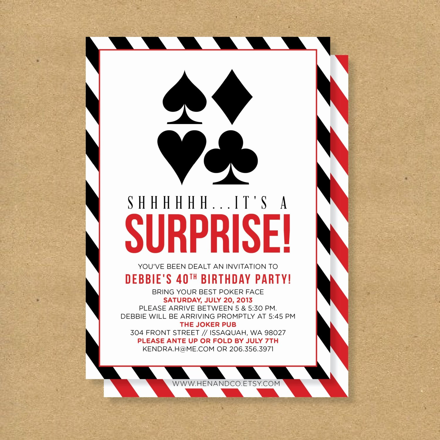 Poker theme Surprise Party Printable Birthday Invitation