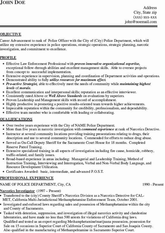 Police Department Resume Best Resume Collection