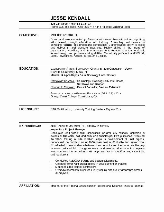 Police Ficer Resume Sample Objective
