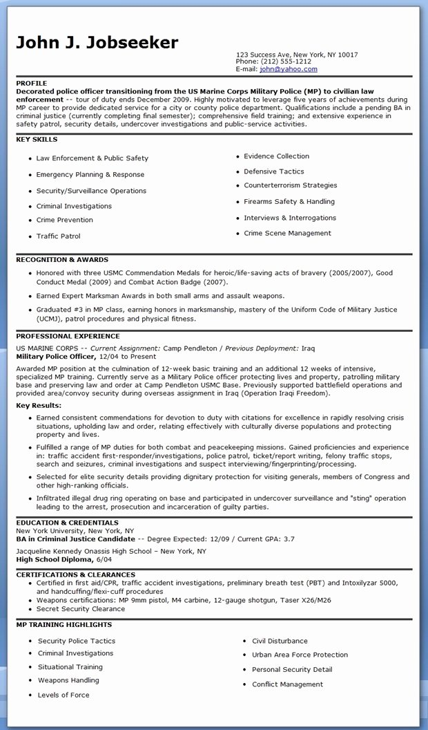Police Ficer Resume Template Free
