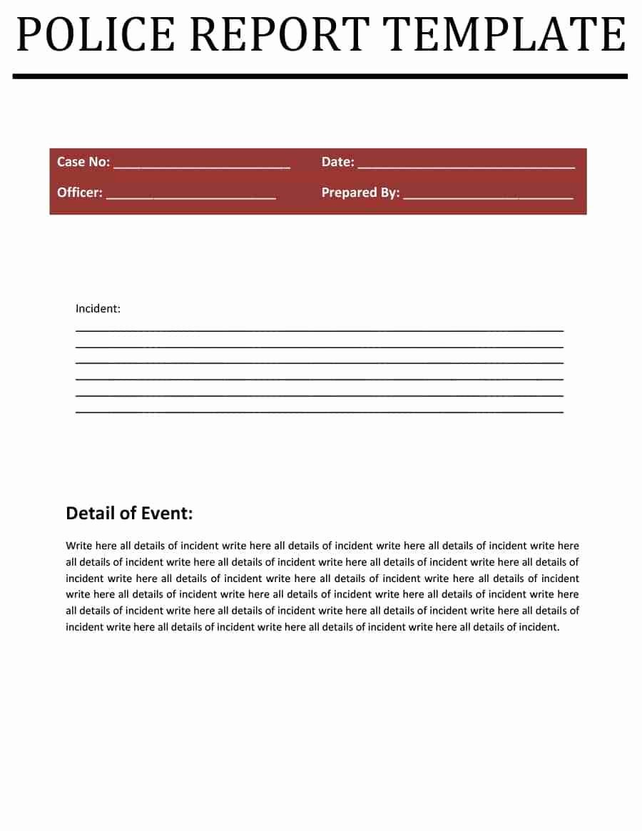 Police Report Templates 8 Free Blank Samples Template