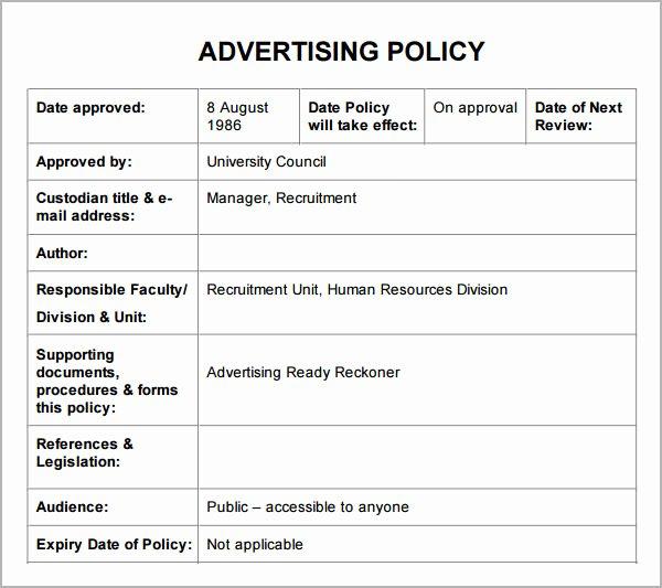 Policies and Procedures Template