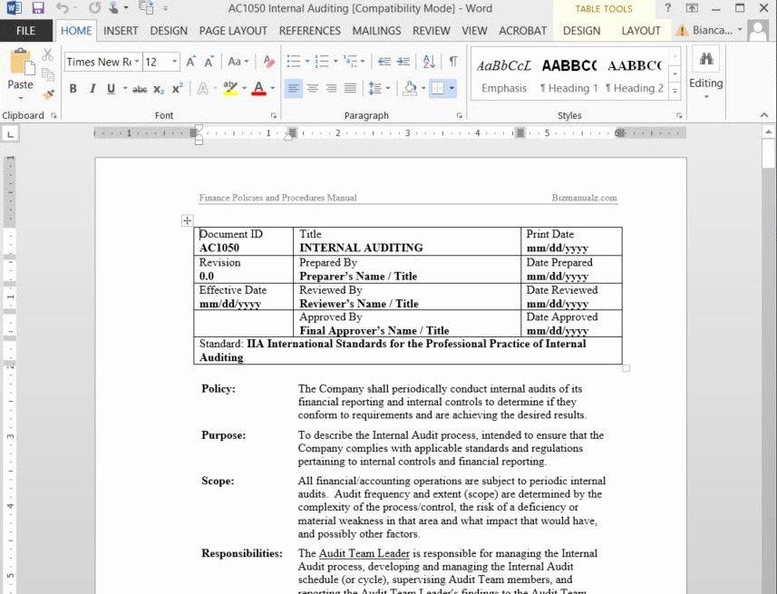 Policy and Procedure Template Microsoft Word Free Sample