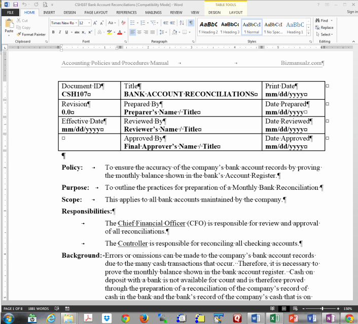 Policy and Procedure Template Microsoft Word Free Word sop