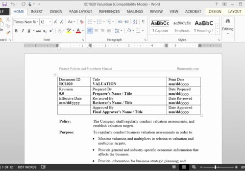 Policy and Procedure Template Microsoft Word