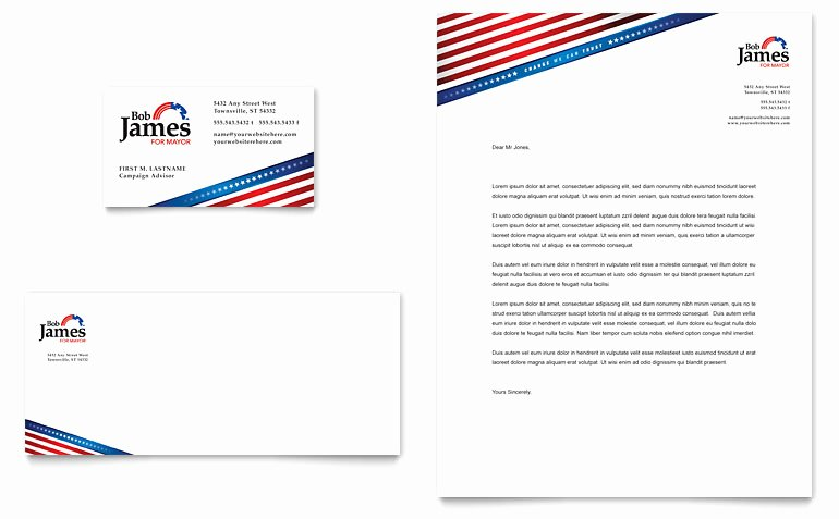 Political Campaign Business Card & Letterhead Template