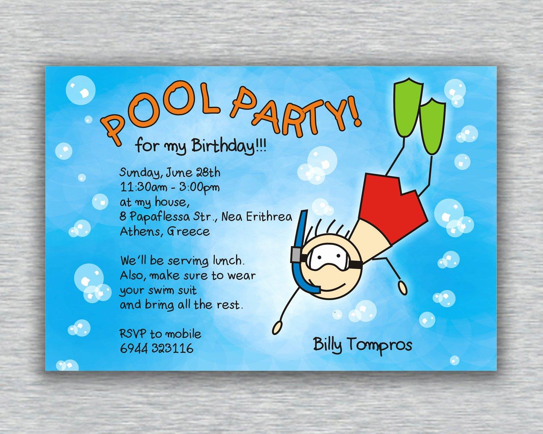 Pool Party Birthday Invitations Boy