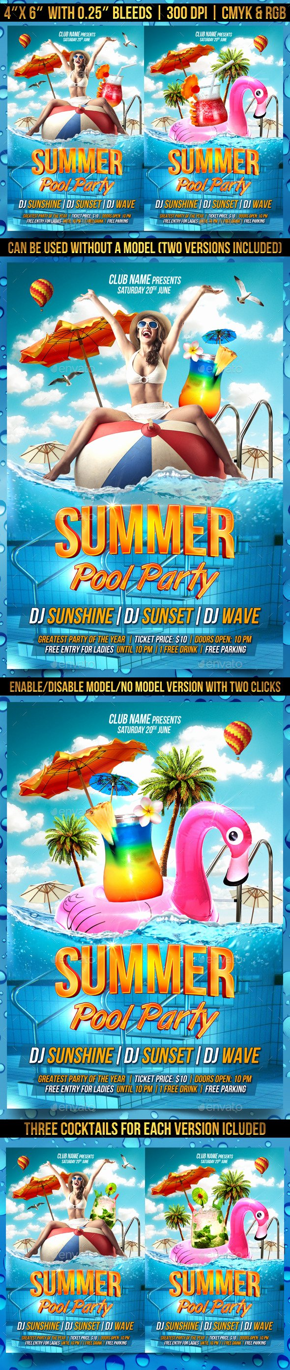 Pool Party Flyer Template by Gugulanul