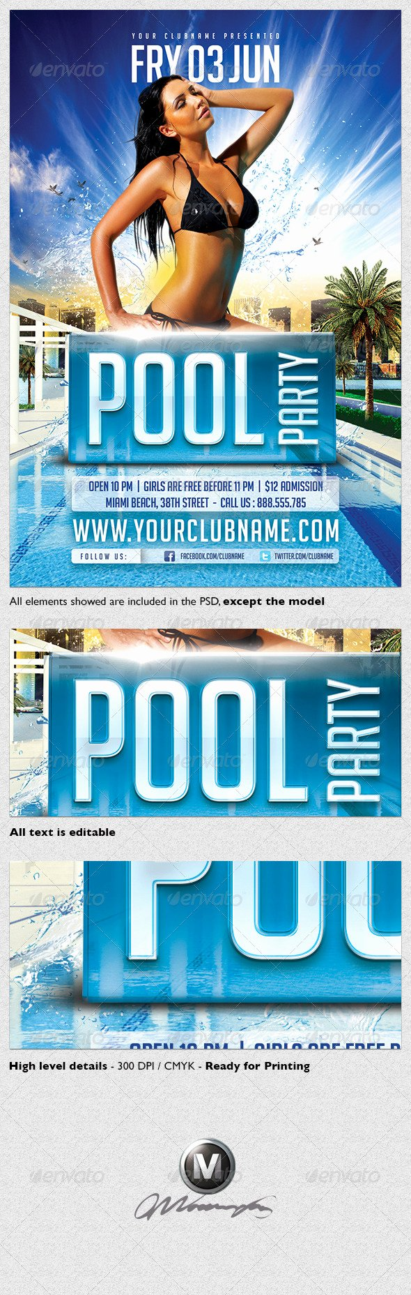 Pool Party Flyer Template Graphicriver Item for Sale