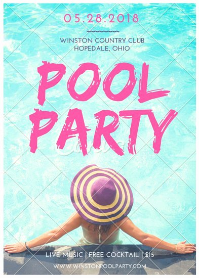 Pool Party Flyer Templates by Canva
