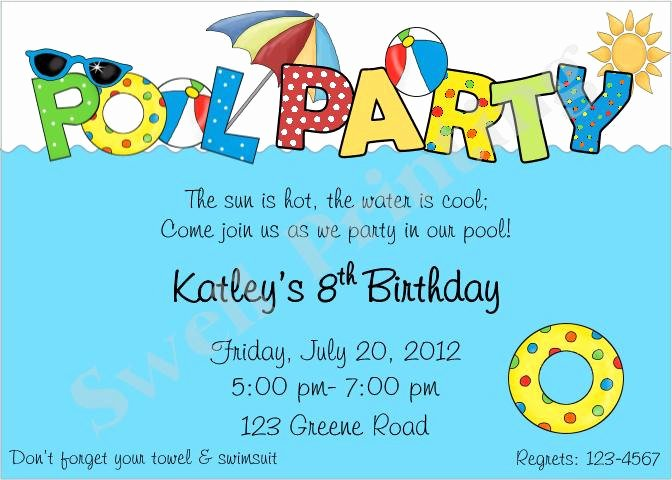 Pool Party Invitation Pool Birthday Invitation by